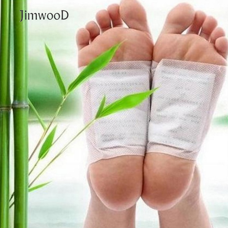 Jimwood 20pcs(10pcs Patches(5 bags)+10pcs Adhesives) Detox Foot Patches Pads Body Toxins Feet Slimming Cleansing HerbalAdhesive