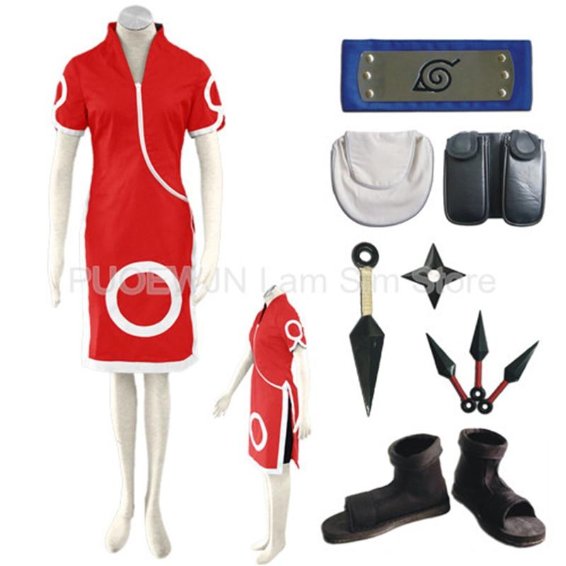 Anime Naruto Haruno Sakura Cosplay Costume Full Set