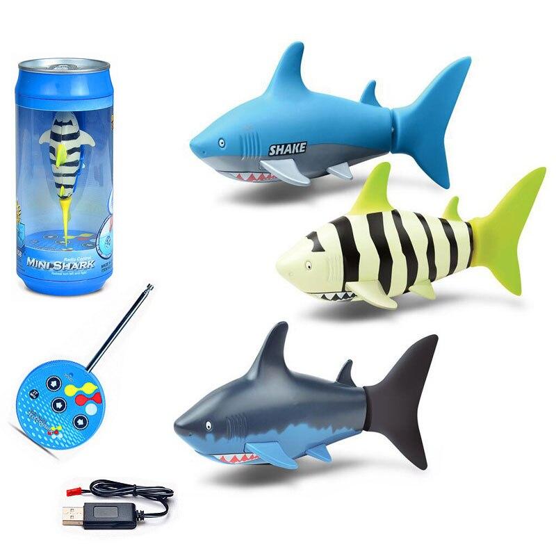 Tiburón de juguete de simulación para niños, pez electrónico a Control remoto,...