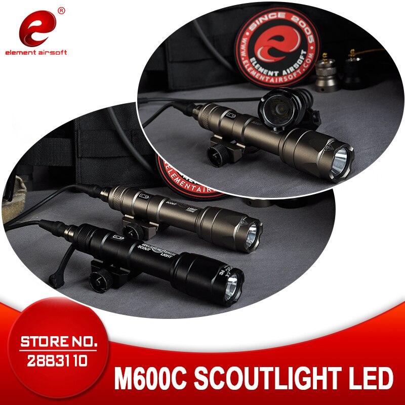 Elemento airsoft tático lanterna surefir m600 luz 366 lúmen m600c caça lâmpada 20mm ferroviário arma luz ex072