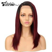 Trueme L parçası önü örgülü peruk siyah kadınlar için brezilyalı Ombre mavi kırmızı insan saçı peruk düz sarışın dantel ön peruk