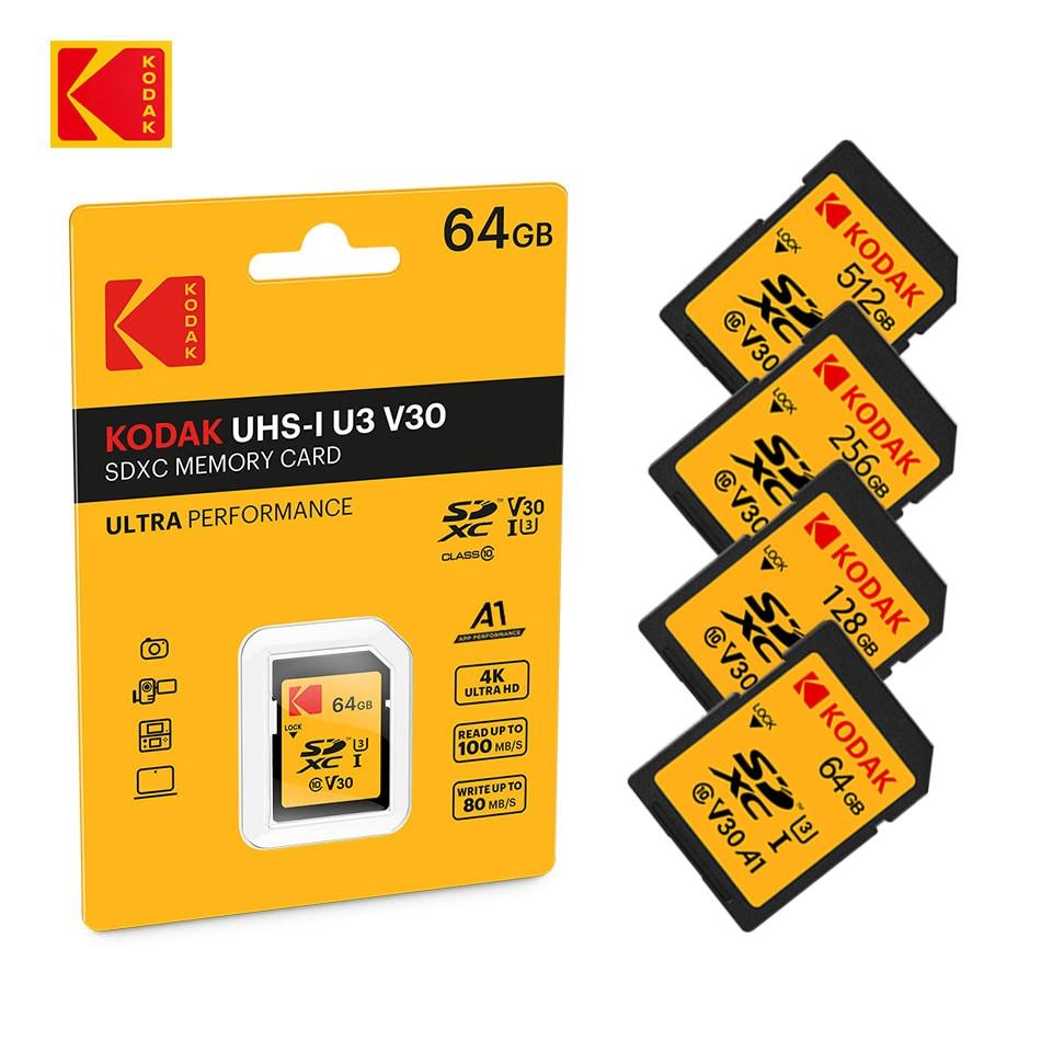 KODAK SD Card V30 A1 high Speed memory card SDHC/SDXC SD U1 U3 32GB 64GB 128GB 256GB 512GB sd card for Canon Nikon DSLR Laptop