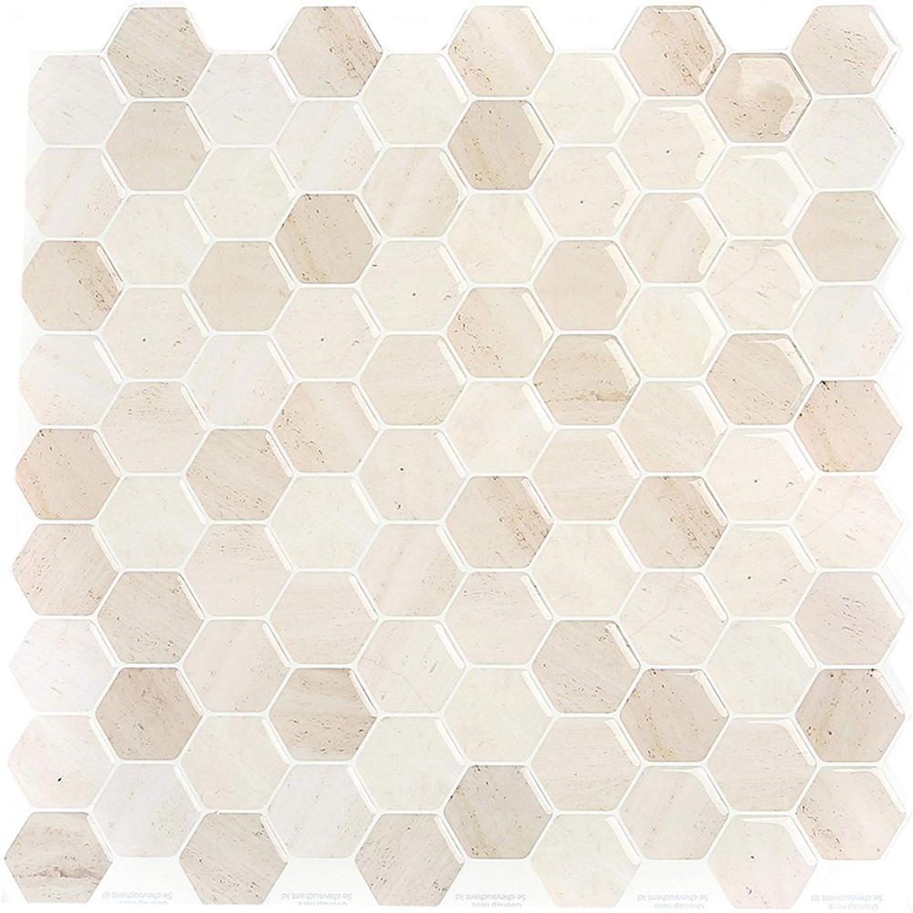 Vividtiles Modern European-style Beautiful Beige Hexagonal Mosaic Peel and Stick Home Decor  Wallpaper-1 Sheets
