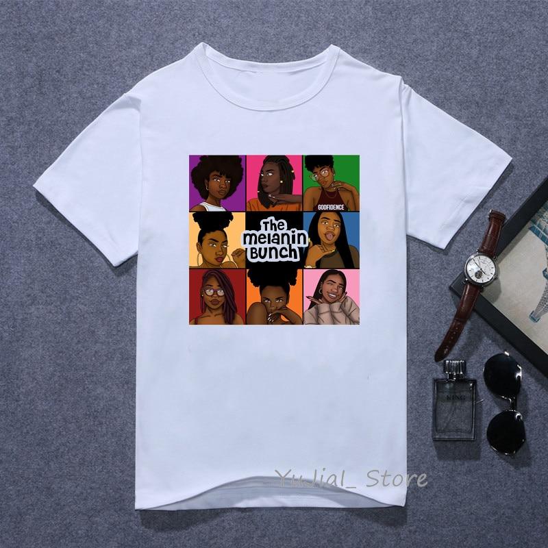 The melanin bunch Funny graphic t shirts women vogue Urban black girl print tee shirt 90s best friends tshirt female t-shirt