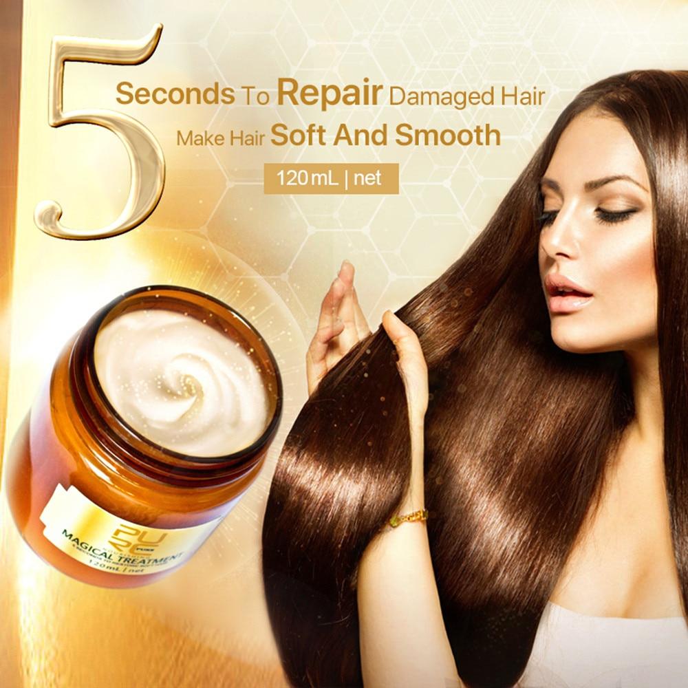 Mascarilla de curación mágica de 60/120 ml, 5 segundos, restaura la mascarilla de cabello suave dañada, restaura el cabello suave para todo tipo de cabello, queratina, cuidado del cabello