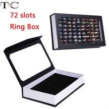 Anneaux présentoir plateau Rectangle bijoux présentoir conteneur 72 fentes anneaux mallette de rangement boucles doreilles boîte anneau boîte affichage stockage