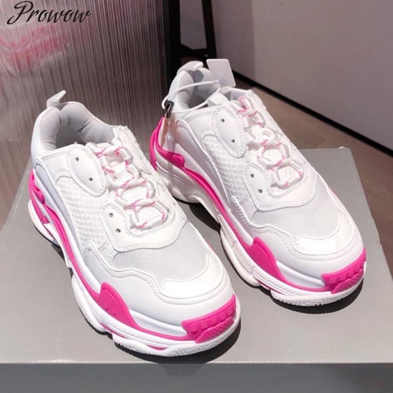 Prowow أحذية رياضية للنساء سميكة القاع بابا حذاء سميك القاع مستدير تو تنفس الترفيه الإناث فلكنيز الأحذية