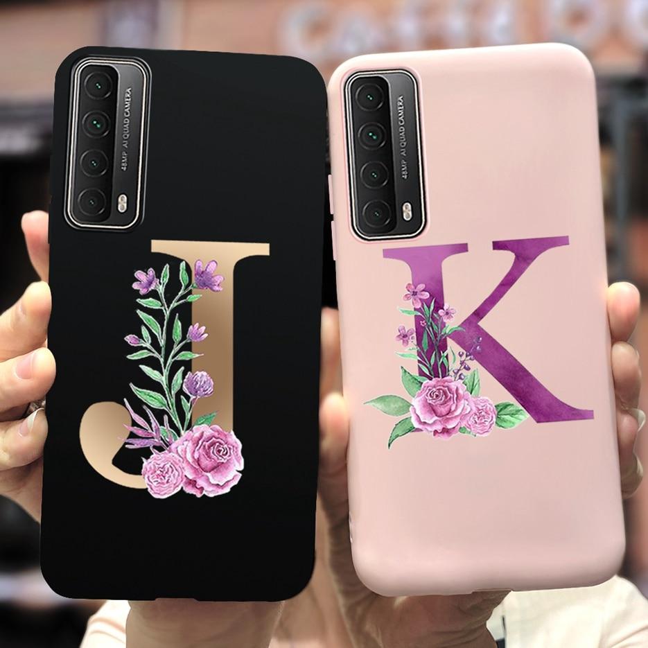 Für Huawei P Smart 2021 Fall PPA LX2 Nette 26 Letters Weiche Telefon Fällen Blume Zurück Abdeckung Für Huawei PSmart 2021 fall Funda Stoßstange Handytasche    -