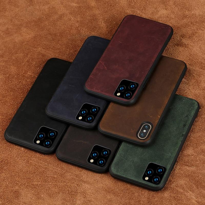 Luxo caso de couro genuíno para iphone 11 pro max x xr xs 360 capa de couro protetora completa para iphone caso 11 pro 6s 7 8 plus