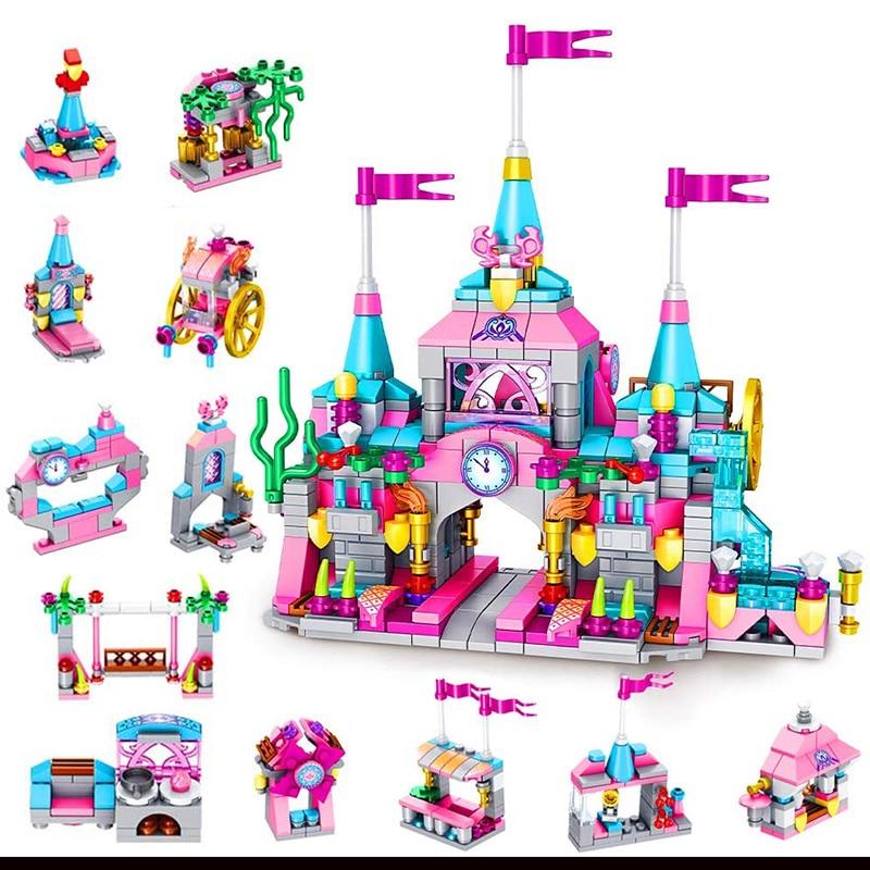 566 pçs 12 em 1 princesa cidade casa castelo blocos de construção criador lepinblocks tijolos brinquedos meninas juguetes crianças blocos