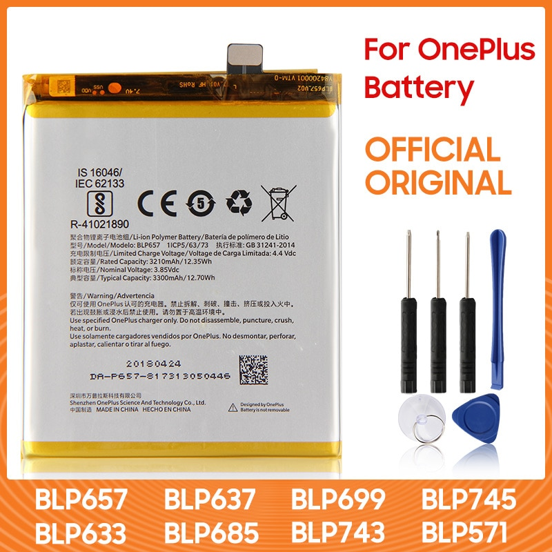 Original OnePlus Replacement Battery BLP657 For OnePlus 6 6T 7 7T BLP699 7 Pro 7T Pro OnePlus 5 5T BLP571 For OnePlus 1 2 3 3T недорого