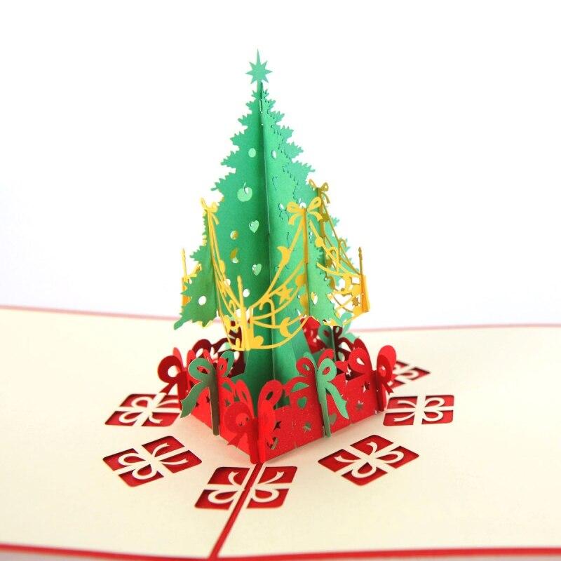 Nuevas tarjetas de navidad árbol de Navidad tarjeta de felicitación únicas postales de vacaciones con sobre 3D invitaciones emergente