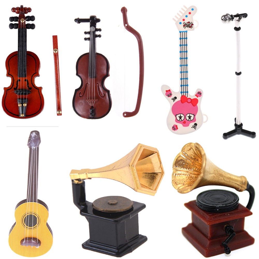 Fonógrafo para micrófono, guitarra, violín, trompeta, saxofón, muñeco de tambor, instrumento Musical para muñecas, casa, Bar, accesorios para muñecas