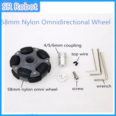 58mm Nylon Omnidirectional Wheel Omni Tire Universal Tyre For Arduino DIY Smart Car RC Toy Compatible Lego Plastic Hub Coupling