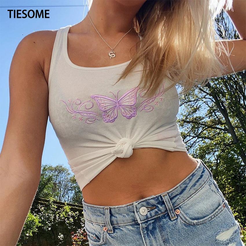 Camiseta sin mangas para mujer con diseño de mariposa de TIESOME, ropa de gimnasio informal sin mangas, Top Sexy Delgado, ropa de calle femenina para verano de Harajuku