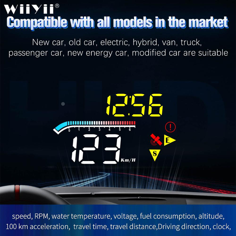 2020 HUD M17 obd head up display OBD2 GPS Dual System Windshield Speed Projector Security Alarm Wate