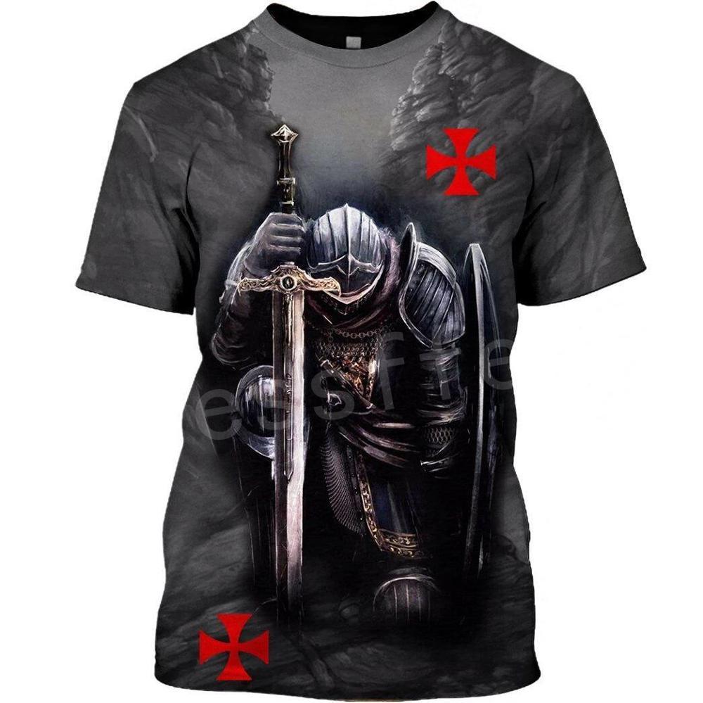 Tessffel cavaleiros templários armadura cavalier streetwear harajuku agasalho nova moda 3 dprint unisex shorts camisetas masculino/feminino s-1