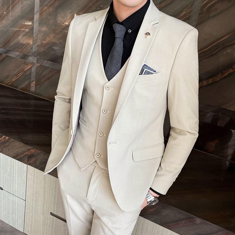 (Jackets+Vest+Pants) 2021 Fashion Men's slim fit Business Suits/Male High-grade pure cotton groom get married dress 3 pcs S-4XL