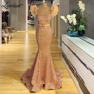 Saudi Arabia Formal Dress Sequins Mermaid Party Dress Dubai Celebrity Evening Gown 2020 Pageant Prom Dresses Robe De Soiree