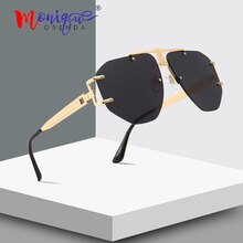 Vintage luxury rimless sunglasses men brand designer retro rivet hollow frame sun glasses women shades polygon oculos de sol