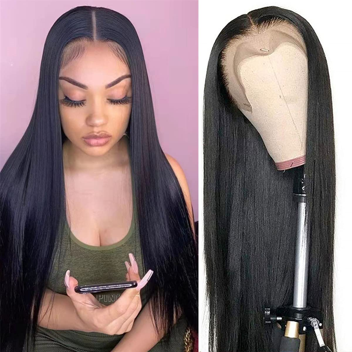 Straight Lace Front Wig Human Hair For Women 13x4 Lace Frontal Wig Pre Plucked Brazilian Straight Lace Closure Wig 4X4 Lace Wig