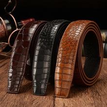 Cinturón de piel auténtica con patrón de cocodrilo para hombre, cuerpo de 3,5 cm, marca de lujo de alta calidad, sin hebilla, Ceinture