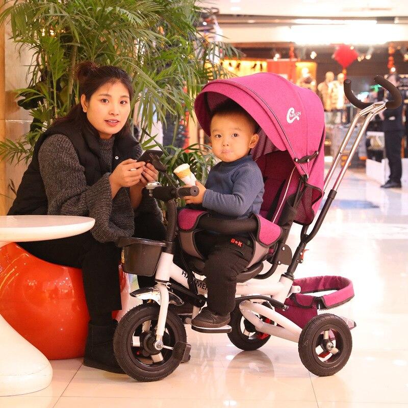 Cochecito plegable, bicicleta plegable con tres ruedas, triciclo multifuncional para niños, carrito ajustable de doble propósito para niños pequeños