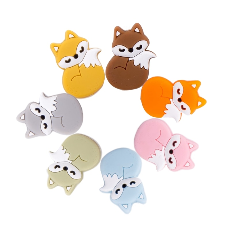 1PC Silicone Beads Teething Bpa Free Cartoon Fox Animals Teethers DIY Pacifier Clip For Children Newborn Baby Teether