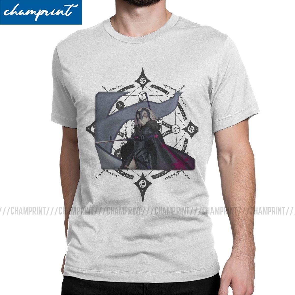 Jeanne darc arc alter t camisas dos homens puro algodão engraçado camiseta destino grande fim fgo jogo t camisa de manga curta adulto