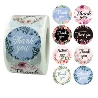1 5 inch 500 pcsroll flowers thank you labels for baking gift cards bag parties wrapping stickers small business