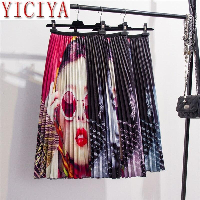 Verano 2020 Falda plisada de cintura alta para Mujer Faldas Midi para Mujer Faldas largas de cintura elástica Línea A para Mujer Faldas de talla grande