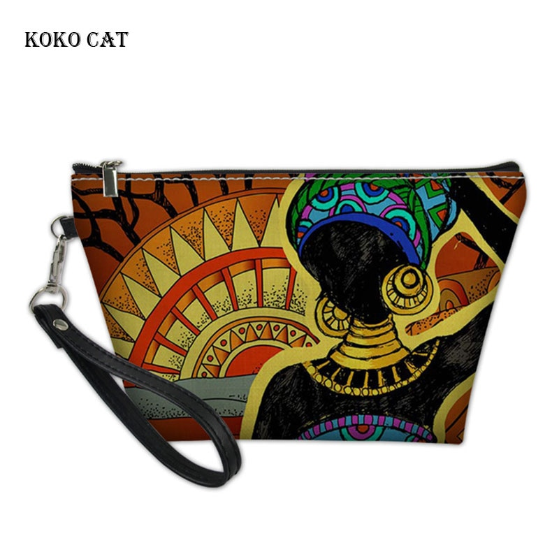 Bolsas de maquillaje de gato KOKO para mujeres fundas cosméticas de impresión africana de Arte Negro para mujer Kit de lavado bolsas bolsa de aseo de viaje para mujeres