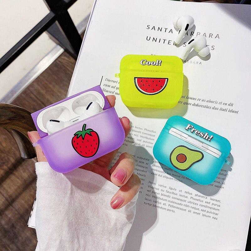Fruta aguacate fresa caja de Color caramelo para AirPods 1 2 Pro caja de carga suave de silicona auricular transparente cubierta protectora