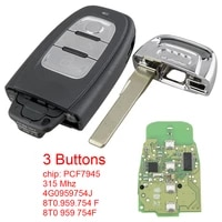 315mhz 3 buttons full smart remote car key fob 4g0959754j 8t0 959 754 f 8t0 959 754f pcf7945 chip for a4 a5 a6l a7 a8 q5