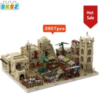 desert village space movie series simulation diy architecture building blocks modular house toys 18 years old collection toy kid