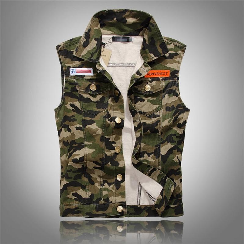 HOT Autumn Men's Camouflage Denim Vests Military Sleeveless Jeans Jackets Fashion Casual Male Vest Camo Waistcoats Homme M-5XL