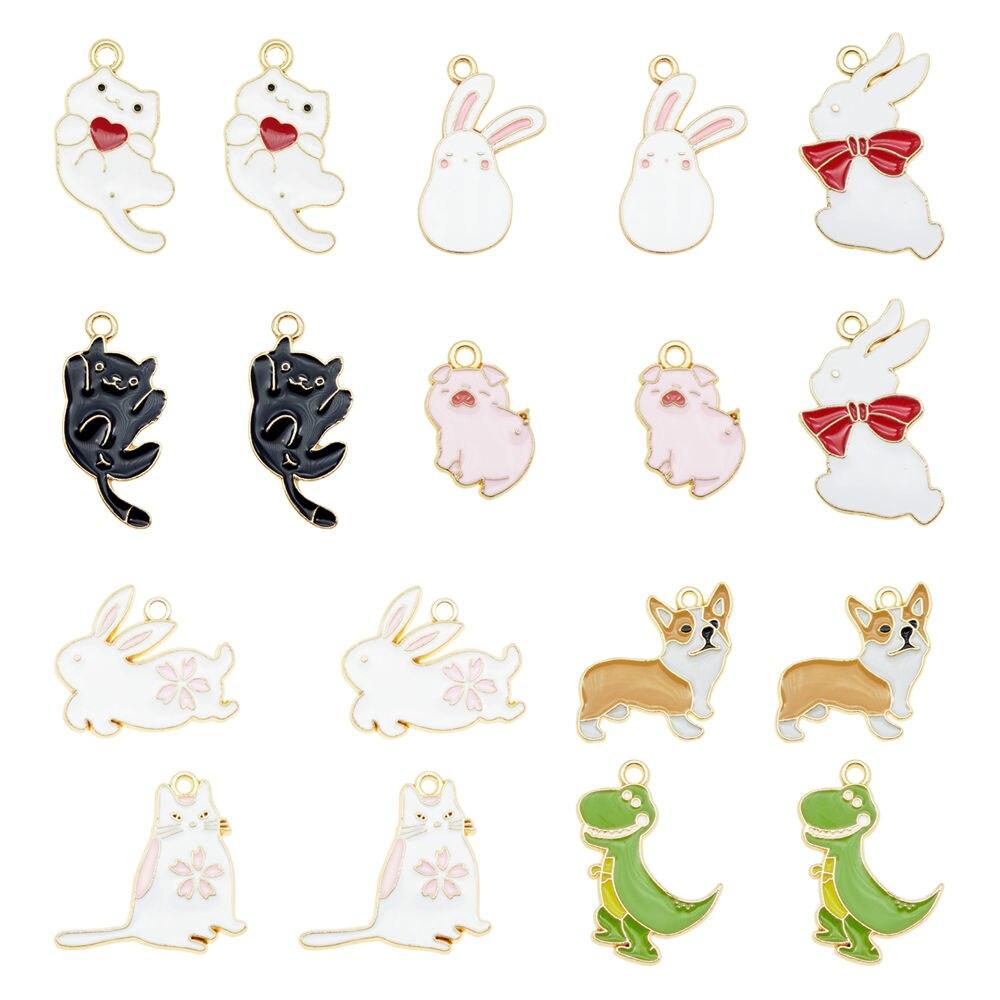 Abalorios de aleación de esmalte de animales de dibujos animados bonitos 5 uds. Colgantes de estilo dinosaurio perro gato para pulsera llavero pendientes artesanía accesorio DIY