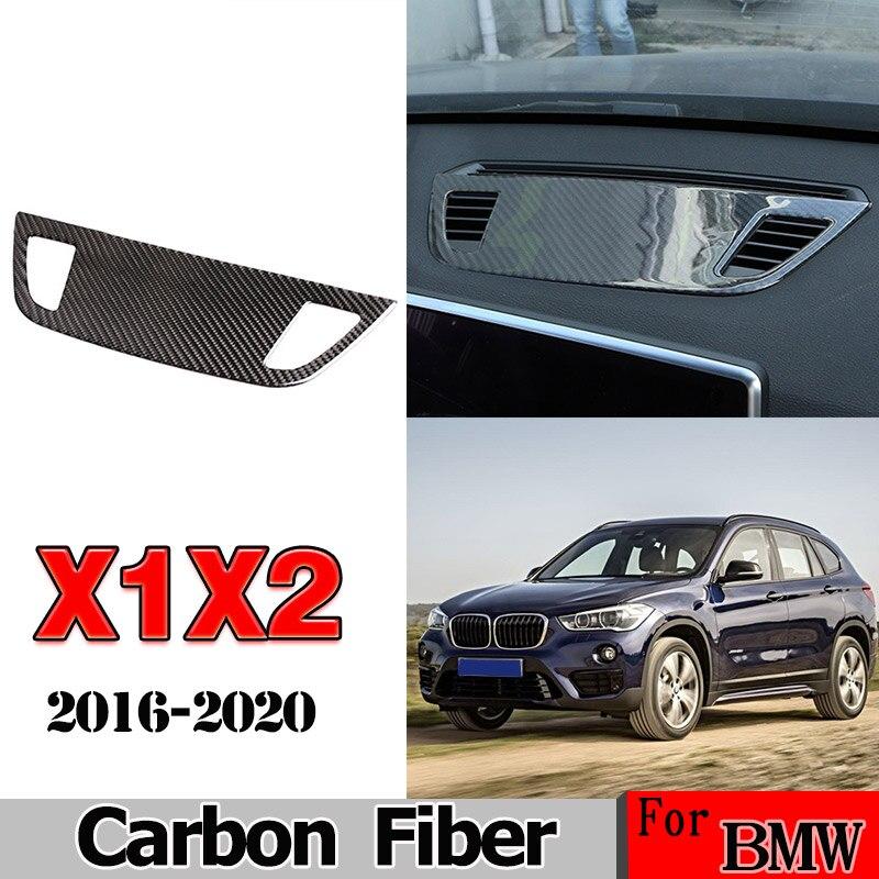 Para BMW X1 X2 F47 F48 2016-2020 fibra de carbono Real pegatina 3D consola de Control central altavoz para salpicadero cubierta embellecedor accesorios de coche
