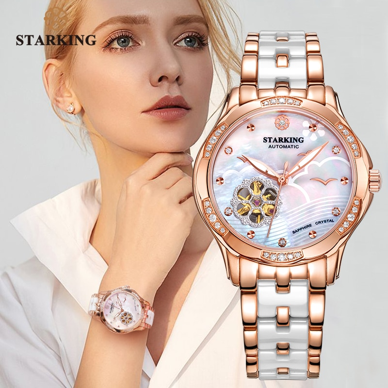 STARKING 34mm Automatic Watch Rose Gold Steel Case Vogue Dress Watches Skeleton Transparent Watch Wo
