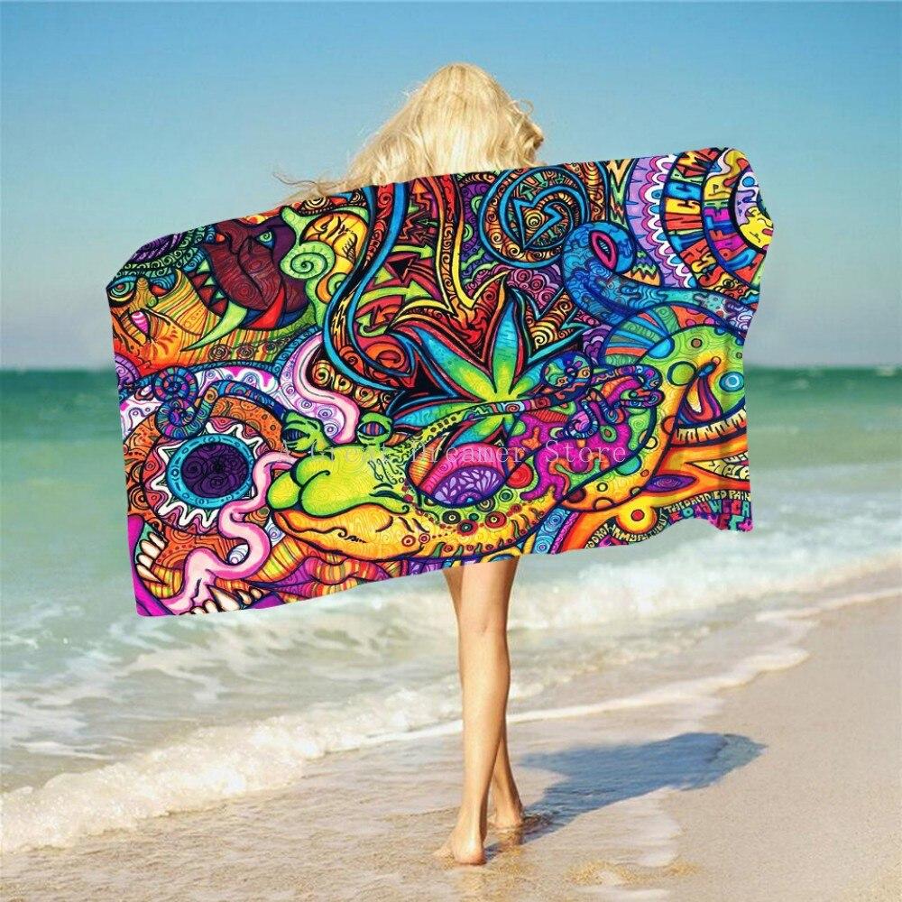 Toalla de playa de microfibra con estampado de Mandala, Arte Abstracto colorido, tapete de Yoga de Toalla con borla, envío directo