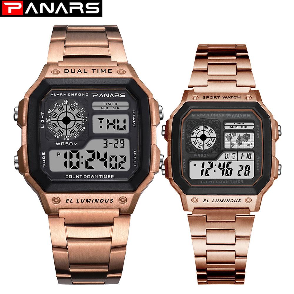 Relojes para parejas PANARS reloj deportivo resistente al agua relojes de pulsera digitales de acero inoxidable reloj Masculino Erkek Kol Saati