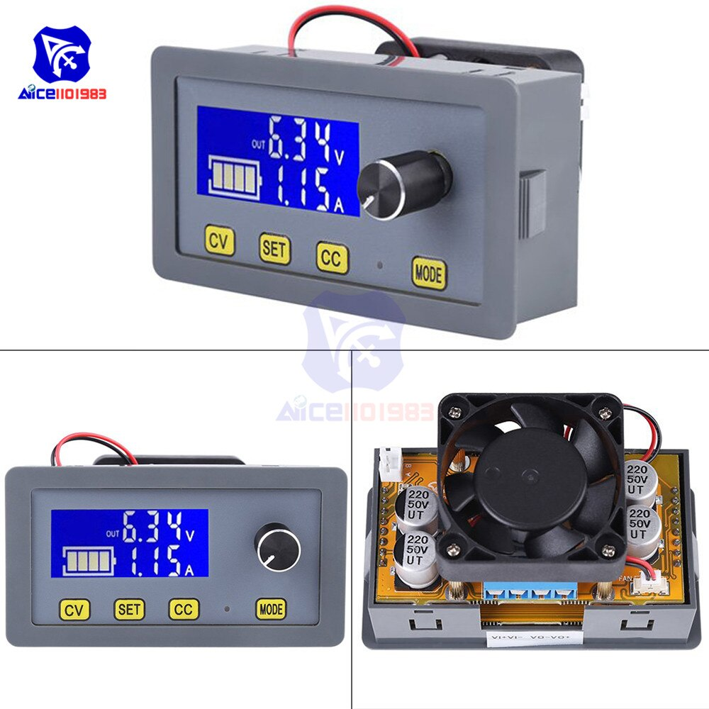 diymore LCD Digital DC-DC 6 -32V to 0 -32V 5A Step Down Buck Converter Power Supply Module with Fan Adjustable Voltage Regulator