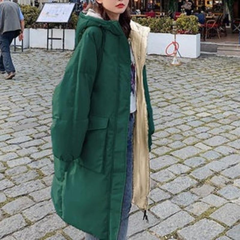 Женская теплая хлопковая куртка, повседневные парки, пальто, Женский однотонный Повседневный пуховик, зимние свободные длинные пальто, Ins