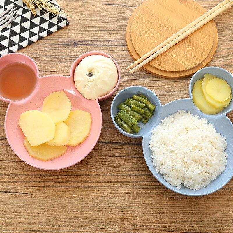 A2446 Creative wheat straw tableware plate cartoon shape baby bowl plate household children's split table