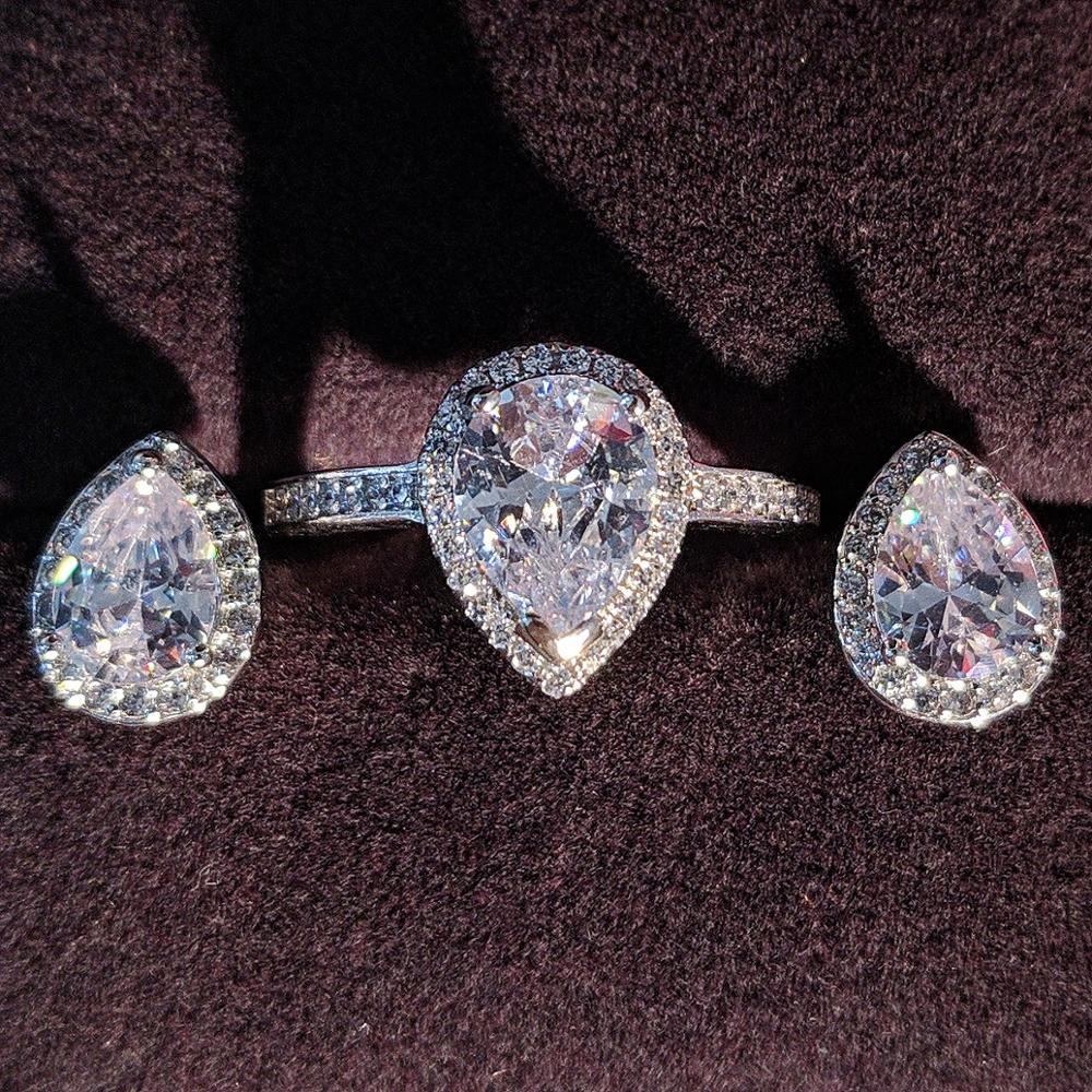 Plata de Ley 925 auténtica conjunto de joyas de circón de pera anillo de compromiso pendiente de tuerca para boda navidad regalo del Día de San Valentín J1473