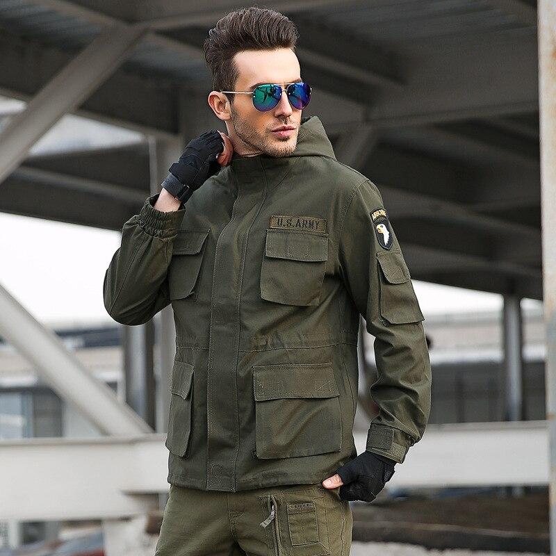 Ropa aerotransportada al aire libre para hombres con sombrero escalada táctico militar senderismo deporte Fleece Softshell chaqueta abrigo Top