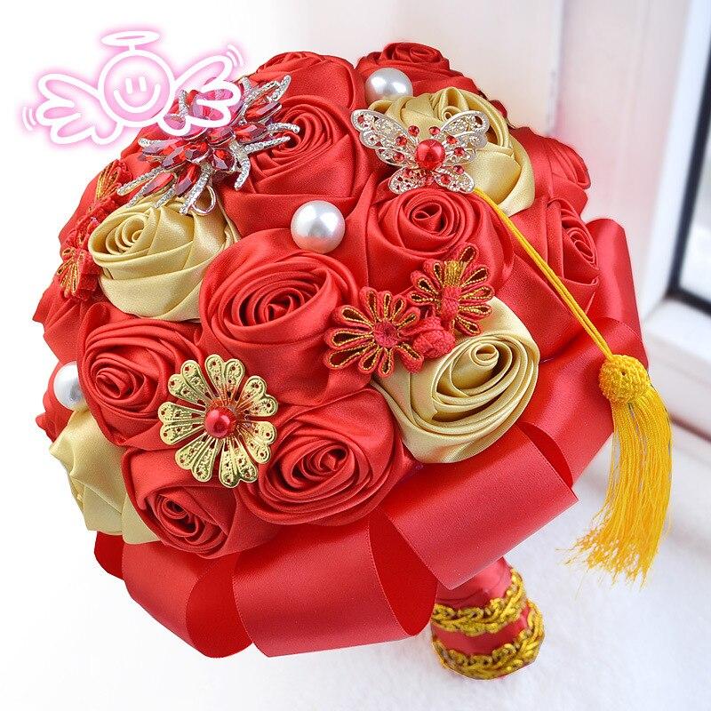 Ramo de novia chino de cristal Ramo de novia ramos de diamantes de imitación hechos a mano para decoración de boda Ramo de la boda