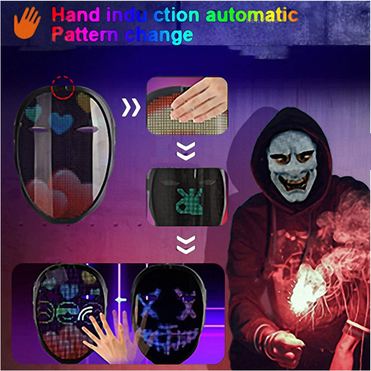 Bluetooth-Compatible LED Shining Mask DIY Editing Animated Text RGB Halloween Party Christmas Toy Gift Sensor Mask Rechargeable
