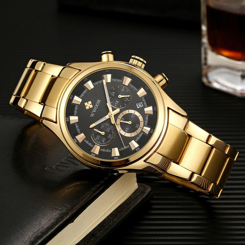 ساعات رجالي من WWOOR 2021 فاخرة ساعة كوارتز سوداء اللون ساعة كرونوغراف رياضية مقاومة للمياه ساعة يد رجالية