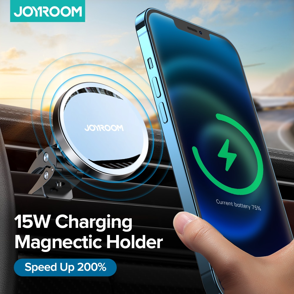 Joyroom15W Qi Magnetic Car Wireless Charger Phone Holder for iPhone 12 Pro Max Wireless Charging Car